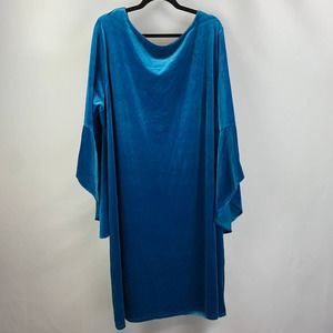The Limited Metallic Blue Cape Sleeve Dress